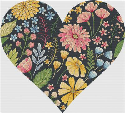 click here to view larger image of Colourful Floral Summer Heart (chart)