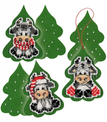 click here to view larger image of Three Calves Decoration (counted cross stitch kit)