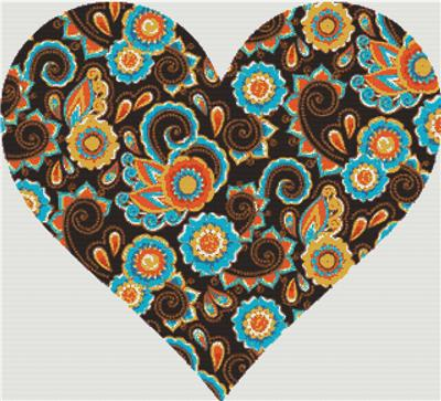 click here to view larger image of Brown Paisley Heart (chart)