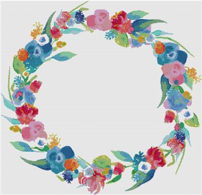 click here to view larger image of Dreamy Watercolour Wreath (chart)