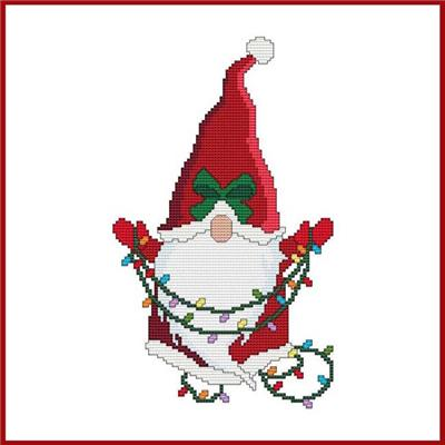 click here to view larger image of Santa Gnome w/Christmas Lights (chart)