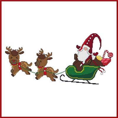 click here to view larger image of Santa Gnome Reindeer Sleigh (chart)