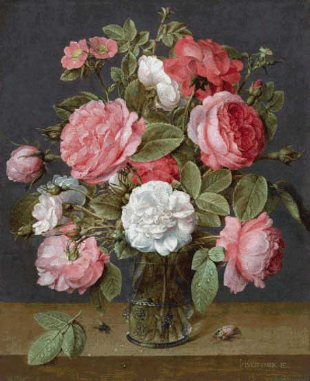 click here to view larger image of Roses in a Glass Vase - Jacob van Hulsdonck (chart)
