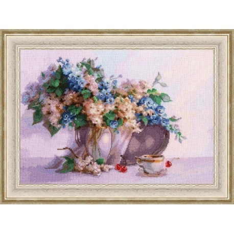 click here to view larger image of Astilba and Delphinium (counted cross stitch kit)