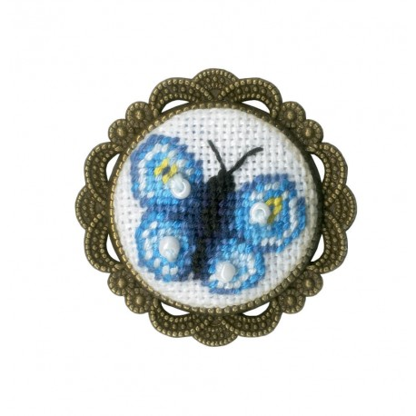 click here to view larger image of Brooch - Butterfly (counted cross stitch kit)
