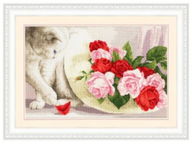 click here to view larger image of Cat and Roses (counted cross stitch kit)