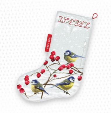 click here to view larger image of Blue Tits Stocking (counted cross stitch kit)