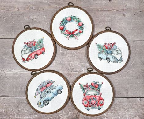 click here to view larger image of Christmas Retro Cars (counted cross stitch kit)