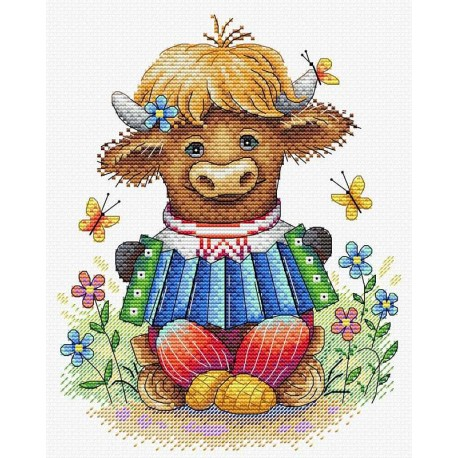 click here to view larger image of Cheerful Accordion Player (counted cross stitch kit)