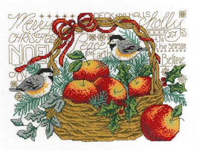 click here to view larger image of Apple Basket Chickadees - Diane Arthurs (counted cross stitch kit)