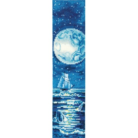 click here to view larger image of Bookmark - Blue Moon (counted cross stitch kit)
