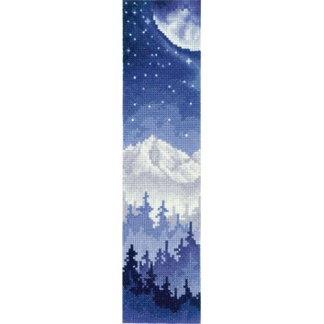 click here to view larger image of Bookmark - Moon Over the Forest (counted cross stitch kit)