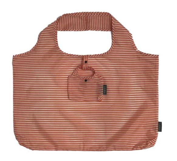 click here to view larger image of Reusable Pocket Shopper - Tangerine Orange/Pinstripes (accessory)