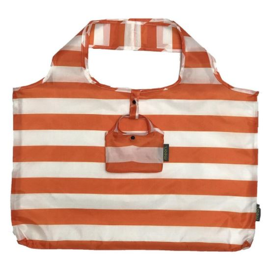 click here to view larger image of Reusable Pocket Shopper - Tangerine Orange Wide Stripes (accessory)
