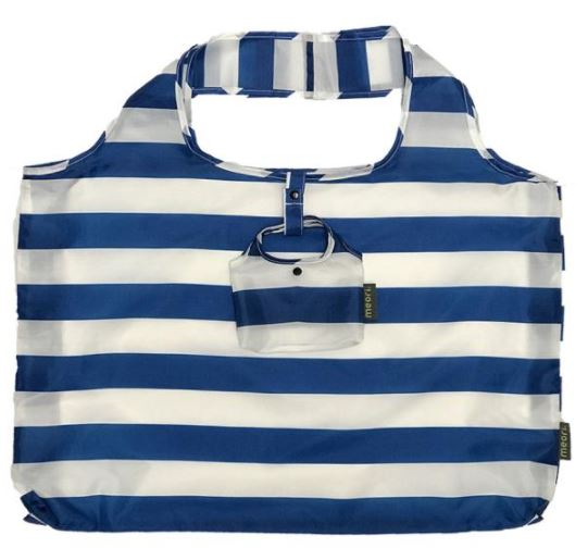 click here to view larger image of Reusable Pocket Shopper - Classic Blue Wide Stripes (accessory)
