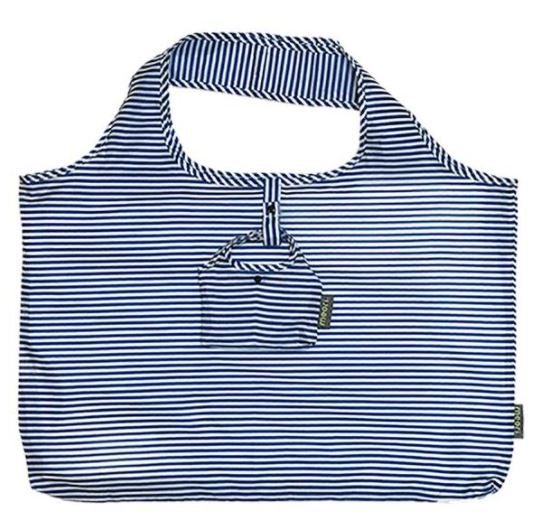 click here to view larger image of Reusable Pocket Shopper - Classic Blue Pinstripes (accessory)
