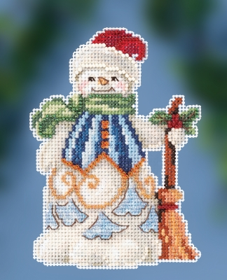 click here to view larger image of Clean Sweep Snowman (counted cross stitch kit)