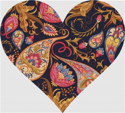 click here to view larger image of Magenta and Gold Paisley Heart (chart)