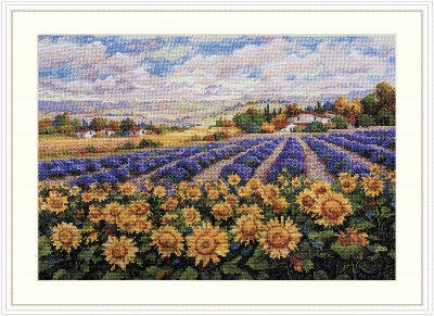 click here to view larger image of Fields of Lavender and Sunflowers (counted cross stitch kit)