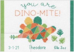 click here to view larger image of Dino-Mite Birth Record (counted cross stitch kit)