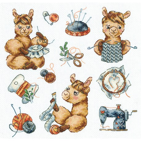 click here to view larger image of Sampler Llama Needlewoman (counted cross stitch kit)