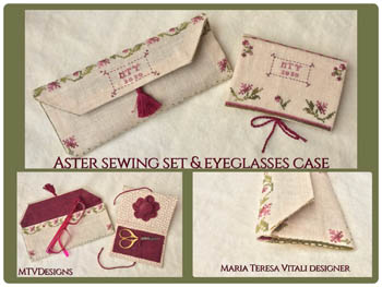 click here to view larger image of Aster Sewing Set and Eyeglasses Case (chart)