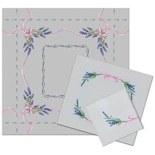 click here to view larger image of Lavender Tablecloth and 2 Napkins (counted cross stitch kit)