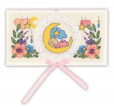 click here to view larger image of Congratulations on the Newborn - Card (counted cross stitch kit)