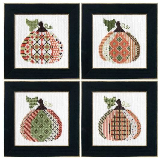 click here to view larger image of 4 Patterned Pumpkins Kit (counted cross stitch kit)