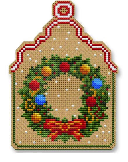 click here to view larger image of Christmas Wreath Ornament (counted cross stitch kit)