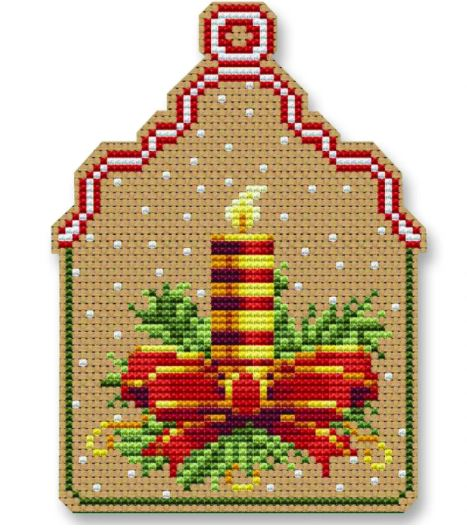 click here to view larger image of Christmas Candle Ornament (counted cross stitch kit)