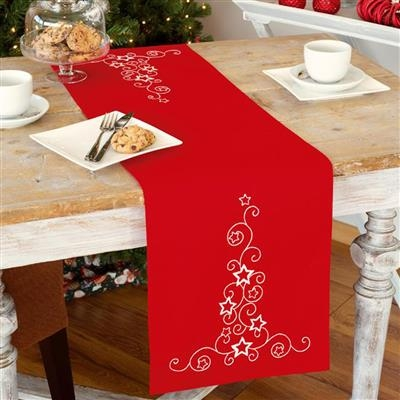 click here to view larger image of White Stars and Swirls Table Runner (counted cross stitch kit)