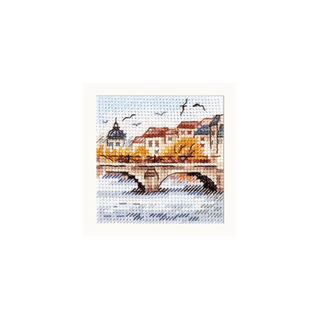 click here to view larger image of Autumn in the City - Seagulls Over the Bridge (counted cross stitch kit)