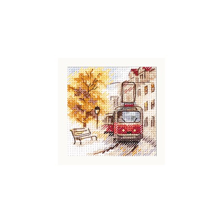 click here to view larger image of Autumn in the City - The Tram (counted cross stitch kit)