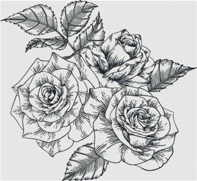 click here to view larger image of Black and White Roses (chart)