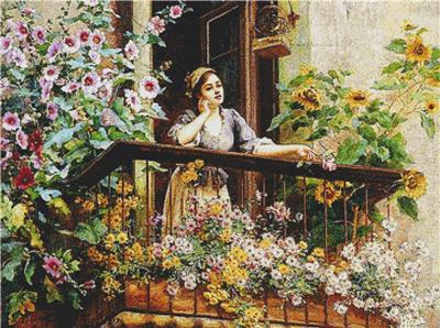 click here to view larger image of Pensive Moment, A (counted cross stitch kit)