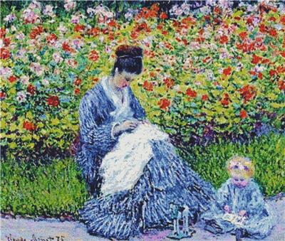 click here to view larger image of Camille Monet and a Child in the Artists Garden in Argenteuil (counted cross stitch kit)