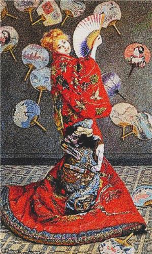 click here to view larger image of Camille Monet In Japanese Costume (counted cross stitch kit)