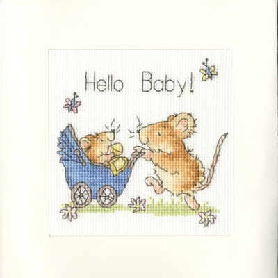click here to view larger image of Hello Baby - Greeting Card (counted cross stitch kit)