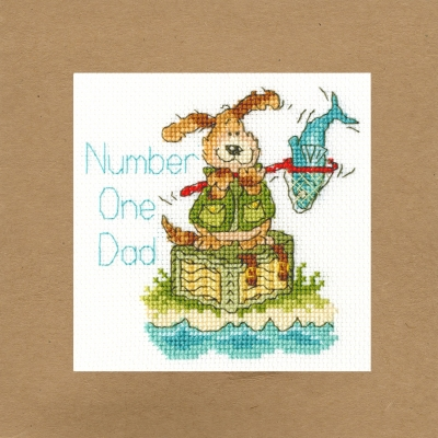 click here to view larger image of Number One Dad - Greeting Card (counted cross stitch kit)
