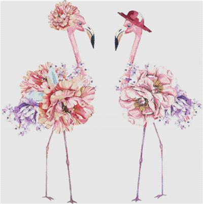 click here to view larger image of Floral Flamingos (chart)