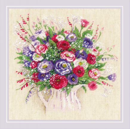 click here to view larger image of Bouquet with Eustoma & Gypsophila (counted cross stitch kit)