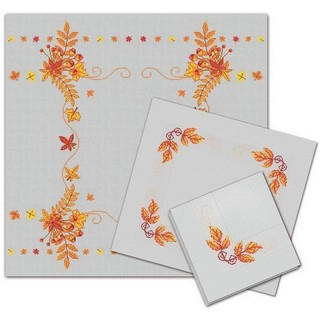 click here to view larger image of Autumn Tablecloth and 2 Napkins (counted cross stitch kit)