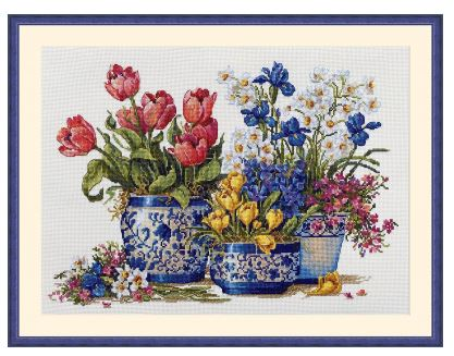 click here to view larger image of  Spring Garden In Blue (counted cross stitch kit)