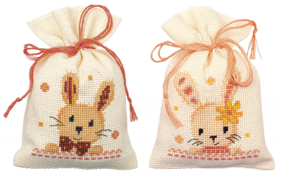 click here to view larger image of Sweet Bunnies Bags (set of 2) (counted cross stitch kit)