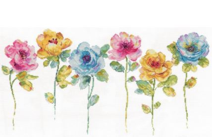 click here to view larger image of Watercolor Floral Row (counted cross stitch kit)