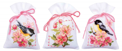 click here to view larger image of Birds & Blooms Bags (set of 3) (counted cross stitch kit)