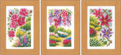 click here to view larger image of In My Garden (set of 3) (counted cross stitch kit)