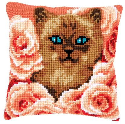 click here to view larger image of Kitten Between Roses Cushion (counted canvas kit)