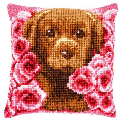 click here to view larger image of Puppy Between Roses Cushion (counted canvas kit)